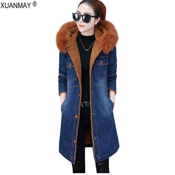 2018 Nuevo estilo largo para mujer de invierno Más chaqueta vaquera de mezclilla Versión coreana suelta informal Denim Forro de felpa Abrigo Parkas grueso