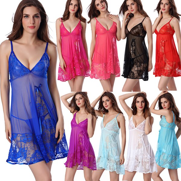 Europe American Sexy Transparent Lace Lingerie Nightwear Red Green Blue Purple Black Plus SIZE Comfortable Sleepwear Thong Lace Lingerie