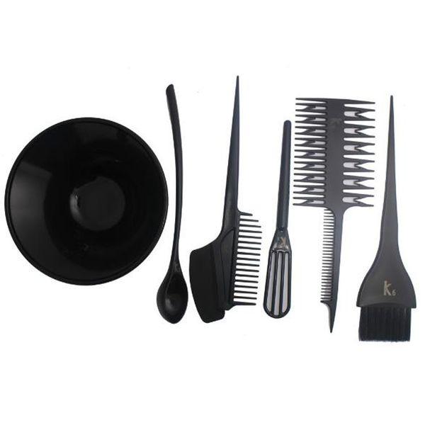 Professional Hair Coloring Tools Set 6Pcs/Set Plastic Hair Color Mixing Bowls Dyeing Mixing Bowl Tinting Comb Brush Hairdressing Tools