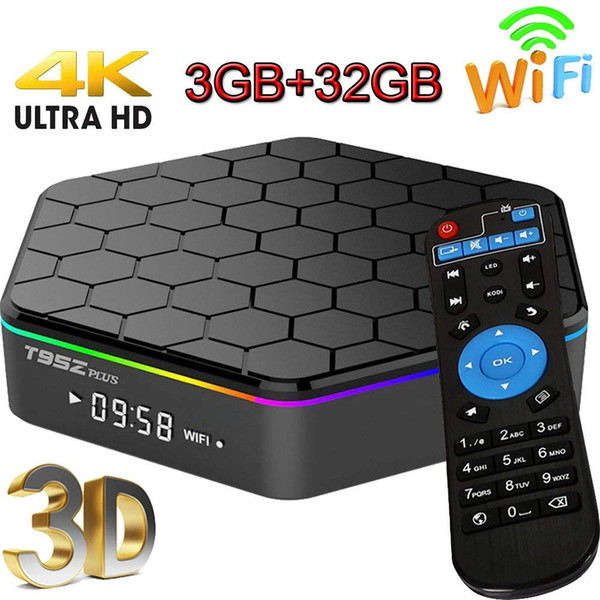 T95Z Plus Android 7.1 TV Box 3GB/32GB Octa Core Dual Band WiFi 2.4GHz/5GHz Bluetooth 4.0 Internet Media Streaming Player