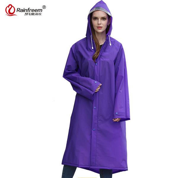Rainfreem 2017 New Fashion EVA Trench Raincoat Women/Men Impermeable Plastic Transparent Rain Coat 7 Colors Rain Gear Poncho