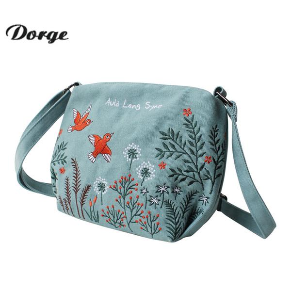 Canvas ladies handbag phoenix embroidered seashell vintage embroidered shoulder bag slung over casual crossbody bag beach travel bag