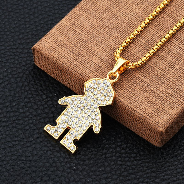 Fashion Men Personalized Figure Pendant Necklaces Full Crystal Design Filling Pieces Rock Hip Hop Jewelry for 18k Gold Plated Long Chain