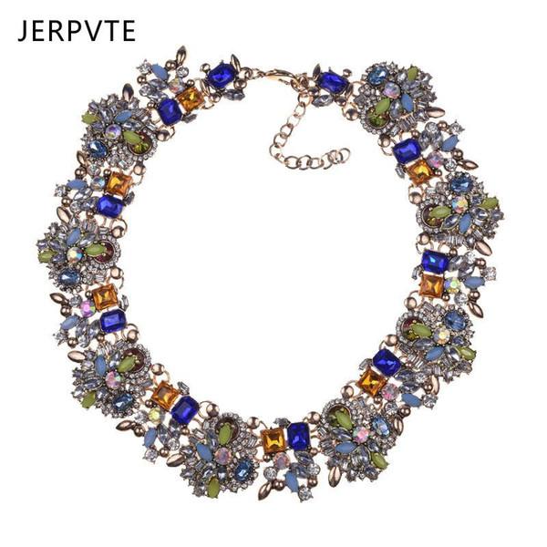 JERPVTE 2018 Moda Bildirimi Takı Kadınlar Için Trendy Kristal Gerdanlık Kolye Katmanlı Taşlar Önlüğü Bildirimi Salkım