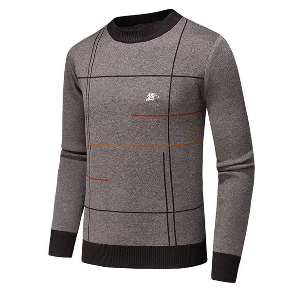 Men long leeve brand weater men de igner round neck titching plaid ca hmere weater new luxury pot pullover warm ca ual clothing, White;black