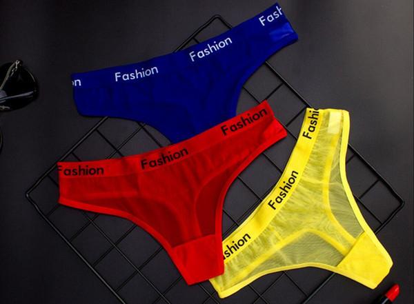Été Wrap Design Femmes Sexy Coton Mesh Coton Transparent Dentelle Culottes Strings Maille Ultra-mince sans couture Slips Culotte Sous-vêtements