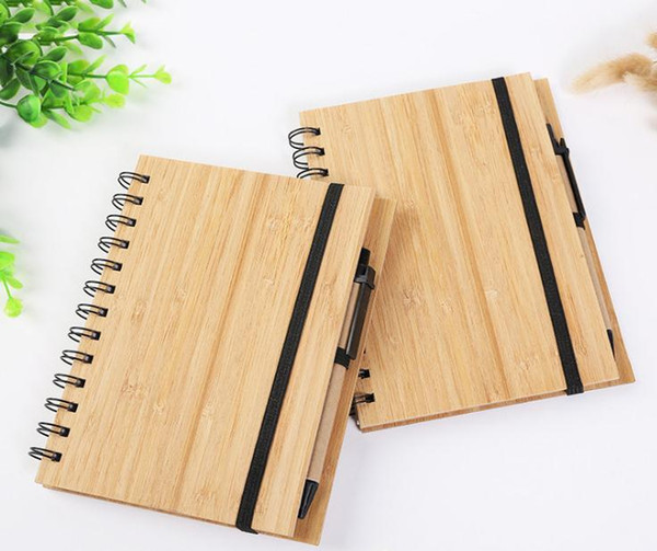 best selling Wood Bamboo Cover Notebook Spiral Notepad With Pen 70 sheets recycled lined paper SN1659