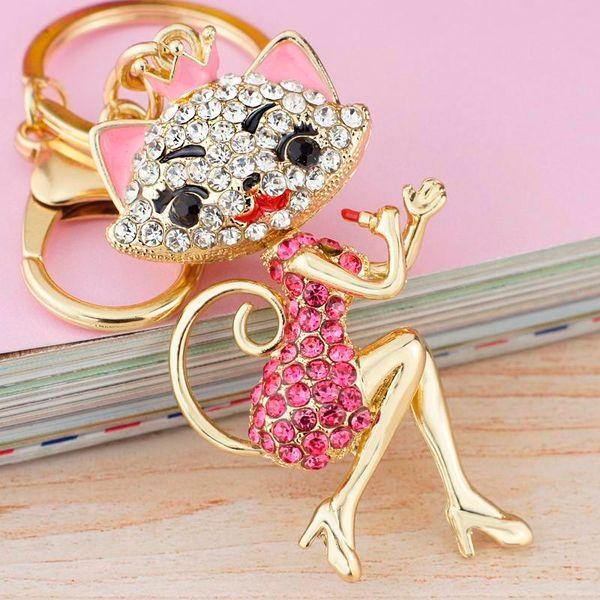 Grace Crown Lipstick Cat Lady Crystal HandBag Pendant Keyrings Keychains For Car key Chains holder for women