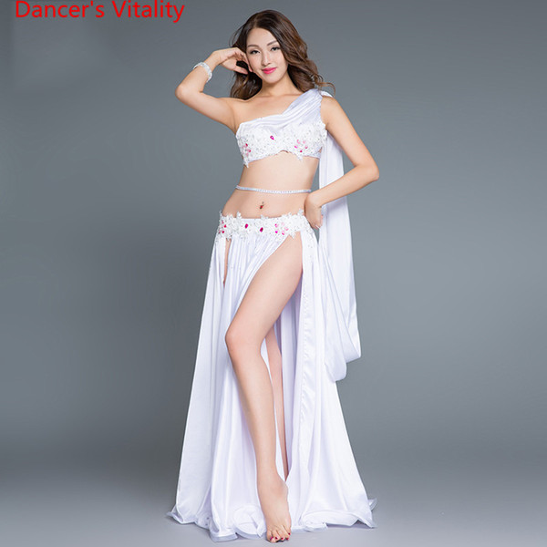 best selling 2017New performance Arrival Belly Dance Long Skirt Set Sexy Dancer Practice Costume Set purple white Red Free Shipping