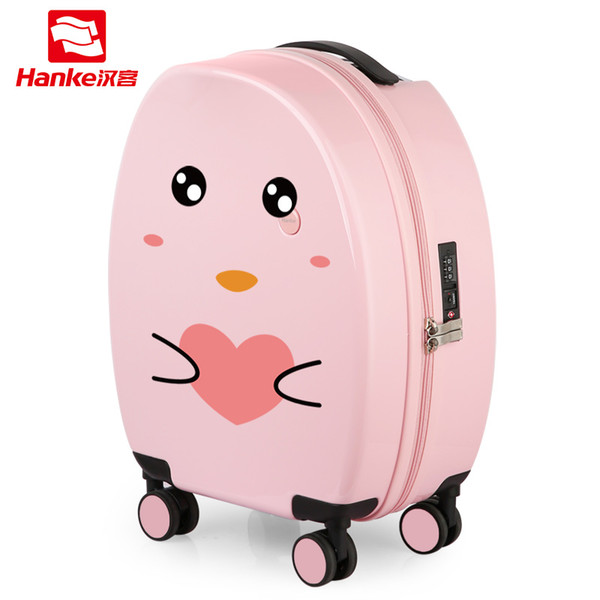 Hanke DIY Hardside Rolling Luggage Bag Suitcase Girls 2018 Cartoon Spinner Trolley Boys Children Carry-Ons Cute Travel Case