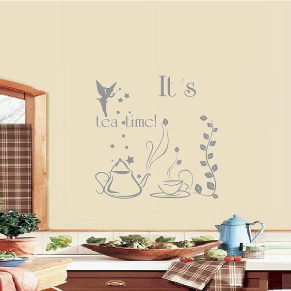 It S Tea Time Wall Stickers Quote Vinyl Art Sticker Fairy With Wand Diy Wall Decals Teapot And Cup Kitchen Wall Decor Removable Wall Stickers For Kids