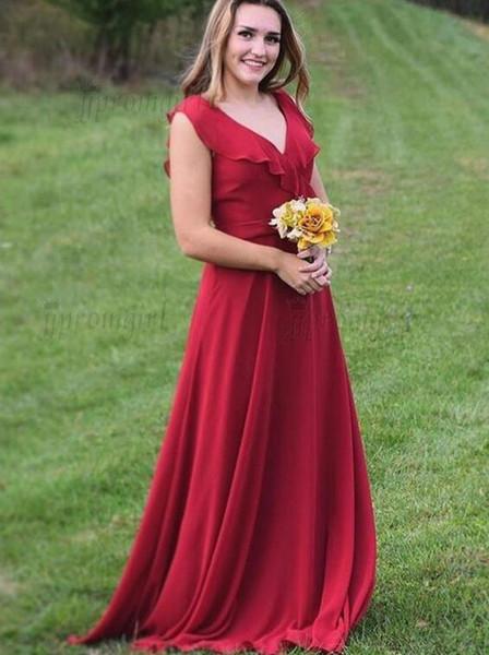 A Line V Neck Floor Length Red Chiffon Bridesmaid Dress with Ruffles Sleeveless Vintage Evening Dresses