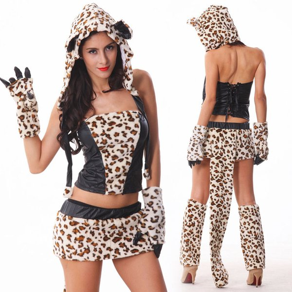 2018 Nightclub Bar Sexy Leopard Cat Girl Cosplay Halloween Game Uniform Costume DS Dance Stage Dress Costume Suit 1075