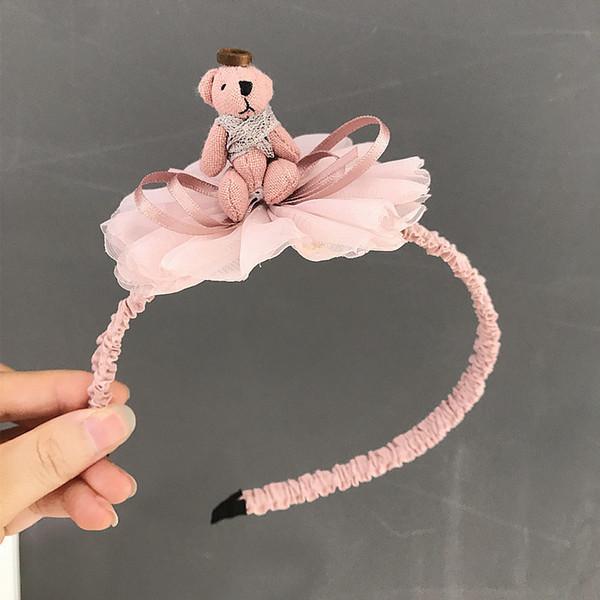 Encantadoras bandas de pelo de flores de encaje de dibujos animados - Linda forma de oso niños diadema para niñas Boutique Head Hoop accesorios para el cabello decoración diaria