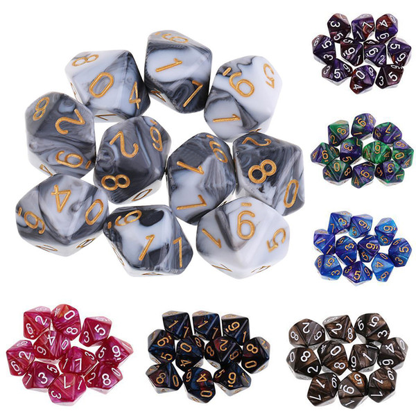 MAYITR New Arrivals 10PCS/Set Colorful D10 Dungeons Dragons Dice Set Acrylic Polyhedral Playing Games Dice 7 Color Choose