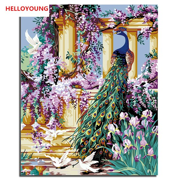 HELLOYOUNG Digital Painting DIY Handpainted Oil Painting Peacock by numbers oil paintings chinese scroll paintings Home Decor