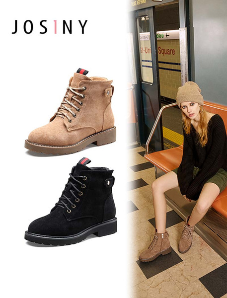 Japanese And Korean Style Winter New Short Boots Female Round Head Neutral Martin Boots Female Low Heel Cross Straps Ankle Boots
