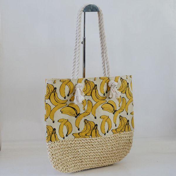 New Japan and South Korea European and American fashion straw bag beach bag pattern paper rope female trend handbag shoulder bag