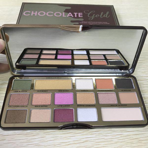 20pcs Makeup Palette Chocolate Gold 16 colors Eyeshadow metallic matte eye shadows natutal cocoa powder palette free shipping