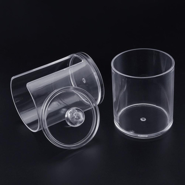 New Arrival Transparent 6.5x7.5cm Acrylic Coon Storage Box Makeup Coon Remover Cylinder Container Hold Stroge Case For home