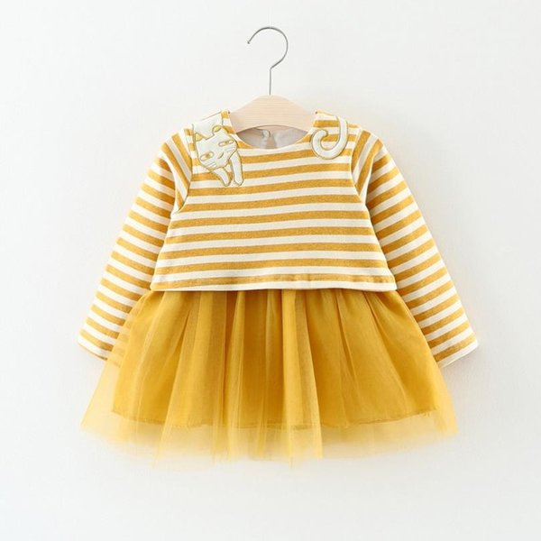 kids girls dresses baby Striped dress 2018 spring autumn infantil clothing for girl Shirt 2 years child Children's Tops Dress