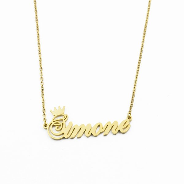 Custom Crown Name Necklace Personalized Jewelry Silver Rose Gold Stainless Steel Customized Cursive Font Nameplate Necklaces
