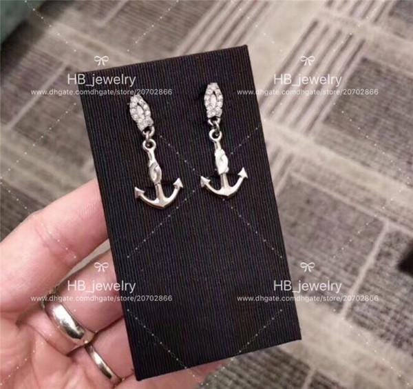 Популярный модный бренд Высокая версия Бриллиантовые якорные серьги для леди Дизайн Женщины Партии Свадьба Любители подарок Роскошные украшения для невесты с коробкой
