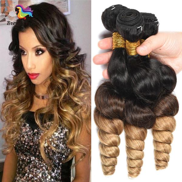 Precolorado Indio Brasileño Peruano Loose Wave Paquetes Ombre Hair Weave 3 Tone 1b / 4/27 Blonde Remy Ombre Extensiones de cabello humano