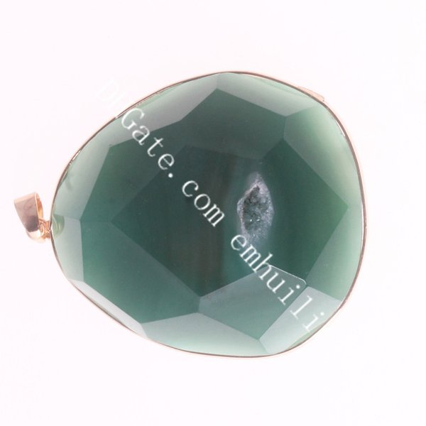 gold plated green agate geode