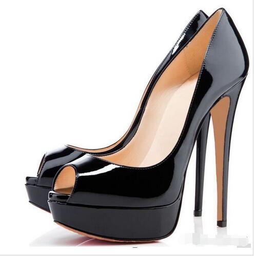 2018 размер 34-43 Красное дно кожа Алмаз высокие каблуки Пип-Toe Женская обувь Сексуальная шипованных Красный подошва каблук женщина свадебные насосы