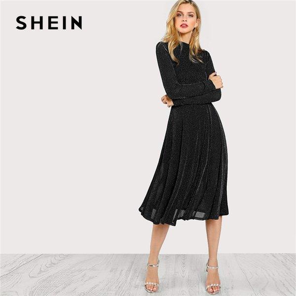 Compre Shein Streetwear Fin De Semana Casual Negro Cuello Falso Glitter Fit Vestido Acampanado 2018 Otoño Vestidos De Mujer Elegante A 3498 Del Beke