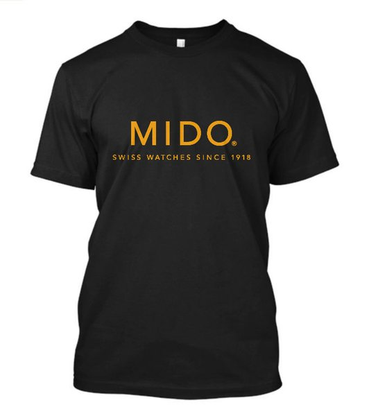 New Mido Watches Logo Short Sleeve Men's Black T-Shirt Size S To 3xl Free Shipping Summer Fashion Print T Shirts Men Top Tee