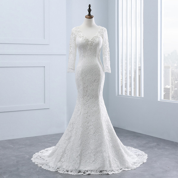 2018 New Arrival Ivory Mermaid Real Photos V-Neck Pearls Neckline Long Sleeve Lace Bridal Gowns Court Train Wedding Dress