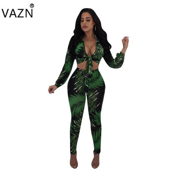 VAZN New Fashion Design 2018 Bodycon Jumpsuit Full Sleeve Long Jumpsuit V-Neck Sexy Print L5195