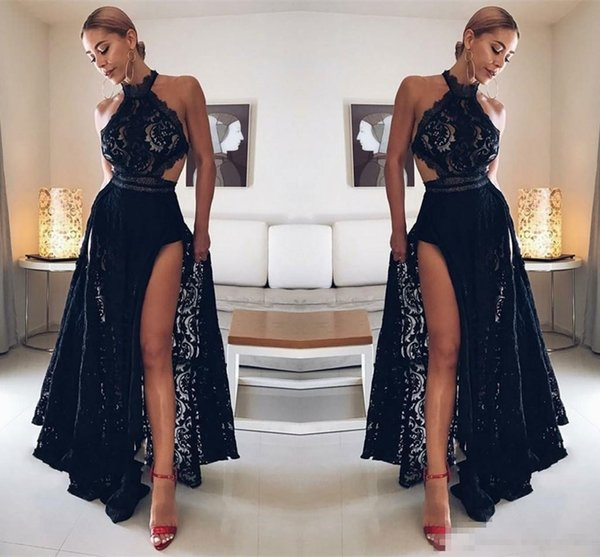 Sexy Black Lace A Line Prom Party Dresses 2018 Halter Neck Front Split Cut Back Special Occasion Evening Gowns Custom Made Cheap