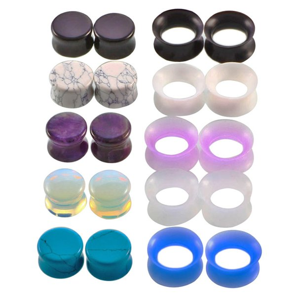 best selling 10 Pair Nature Stone Ear Plugs Silicone Tunnels Double Flare Gauges Ear Stretcher Earlet Expanders Body Piercing Jewelry 6-16mm Mix Colors