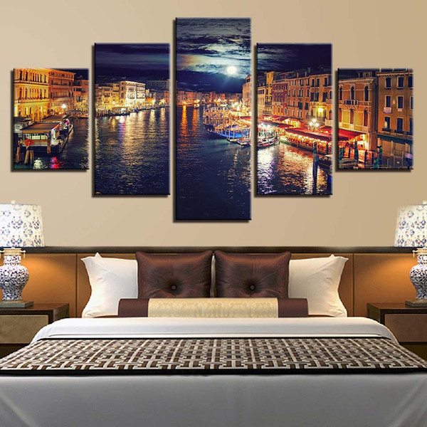 Home Decor HD Prints Canvas Poster Framework 5 Pieces Venice Water City Night Scene Paintings Wall Art Boat Pictures Living Room