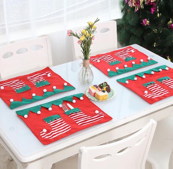 Christmas Table Mats Insulated mats Placemats Napkins Cloth Decor Cover for Kitchen Holiday Party Home Decoration