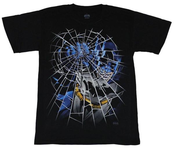 Batman (DC Comics) Mens T-Shirt - Glass Punching Shattered Batman Image 100% Cotton Short Sleeves Tee Shirts