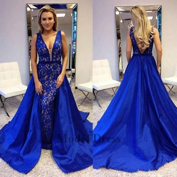 2018 Mermaid Royal Blue Evening Dresses with Long Train Overskirt V Neck Open Back Lace Sexy Prom Dress Elegant Beautiful Party Gowns