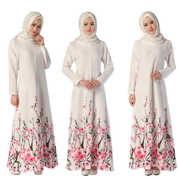 top popular Muslim Womens Abaya Dress O-Neck Long Sleeve Floor-Length Loose Flower Printed Islamic jilbab hijab Kaftan Womens Ethnic Clothing DK729MZ 2021