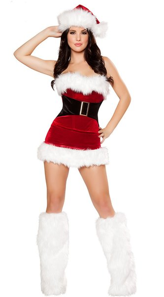 2018 new Santa Claus costume Christmas party sexy women's clothing Christmas dress + Christmas hat + a pair of feet
