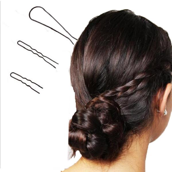 3 pçs / set grampo de cabelo grampos de cabelo hairband para as Mulheres menina Acessórios Para o Cabelo headwear titular bun estrondo criativo preto em forma de U projeto