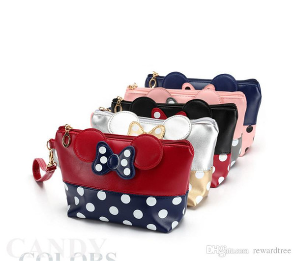 5Colors Polka Dot Bow Clutch Cartoon Tote Cosmetic Bags makeup tools for women and girls lovely tote bag fast shipping 30pcs