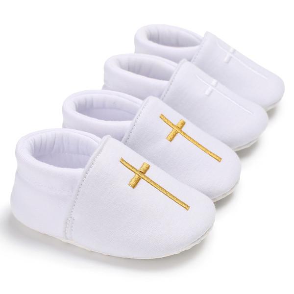 Sapatos de Batismo Batismo da Igreja do bebê Recém-nascidos Crianças Primeiros Caminhantes Infantil Prewalker Branco Para Meninos Meninas Atravessar Padrão Calçados