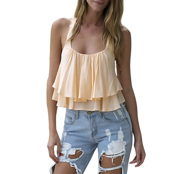 Sexy Club Patch Ruffles Chiffon Camis For Women Y Straped Sleeveless cropped t shirt Female Fashion Halter Short women Tops