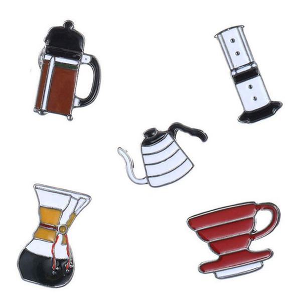 American Coffee AeroPress Chemex Filtro de la Copa Broche de Mezclilla Chaqueta Pin Camiseta Badge Joyería de Moda Regalo Para Amigos Niños