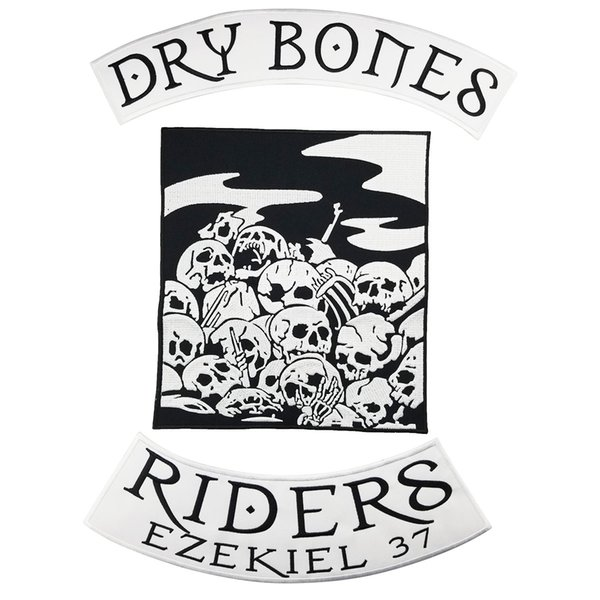 Cool DRY BONES RIDERS Motorcycle club Patch MC Embroidered Full Back Large Applique For Rocker Biker Vest Patches for clothing Free Shipping
