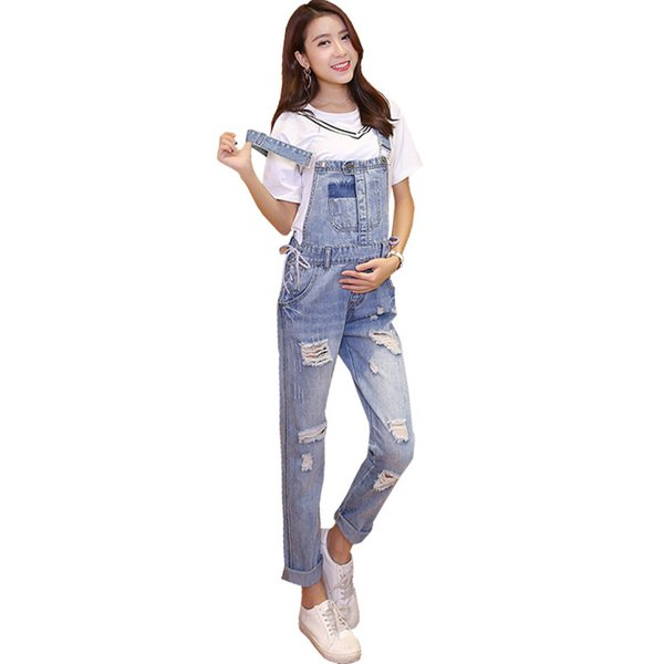 Hole Denim Jeans Maternity Overalls Straps Pants For Pregnant Women Cotton Pregnancy Braced Suspender Bibs Work Carrying Clothes