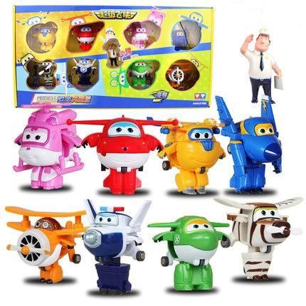 figure toy New Arrival 8PCS/Set Super Wings Mini Planes Transformation Airplane Robot Action Figures Toys For Kids Birthday Gifts # 710093
